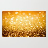 gold glitter Area & Throw Rugs featuring Gold Glitter Texture by Robin Curtiss