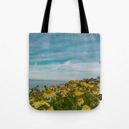 - Ocean view - yellow wildflowers - Tote Bag