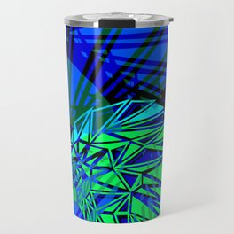 Light abstract from green bird and blue chaotic lines. Travel Mug