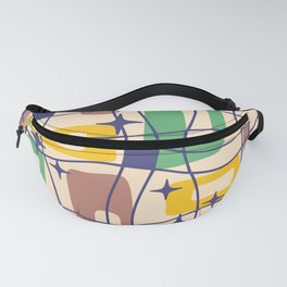 Mid Century Modern Cosmic Squares Pattern 326 Brown Green and Yellow Fanny Pack