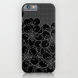 Cherry Blossom Grid Black iPhone Case