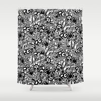 sticker Shower Curtains featuring Phidias Gold Sticker Pattern by Phidias Gold