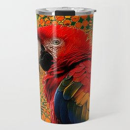 RED JUNGLE MACAW PATTERN ABSTRACT Travel Mug