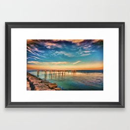 Texas City Dike Reimagined Framed Art Print