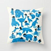 hats Throw Pillows featuring Blue Animals Black Hats by WanderingBert / David Creighton-Pester