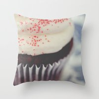 cupcake Throw Pillows featuring cupcake by Beverly LeFevre