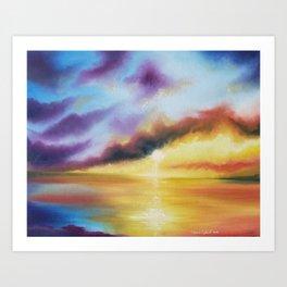 Rainbow Sunset Painting, Bright Beach Painting, Light Beautiful Sunset Art, Original Artwork, Sunset Art Print