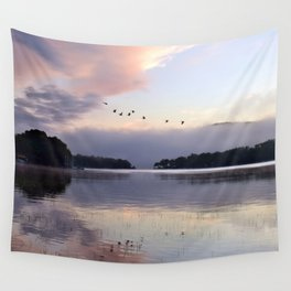 Uplifting II: Geese Rise at Dawn on Lake George Wall Tapestry