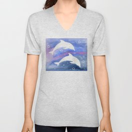 Dolphin Silhouette with watercolor background Unisex V-Neck
