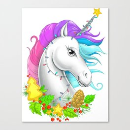 Xmas Unicorn Canvas Print