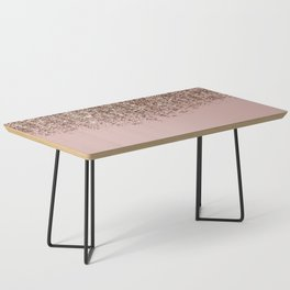 Blush Pink Rose Gold Bronze Cascading Glitter Coffee Table