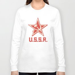 star, crossed hammer and sickle - ussr poster (socialism propaganda) Long Sleeve T-shirt