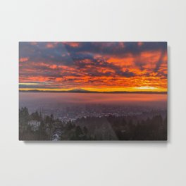 Red sunrise of Portland, OR Metal Print