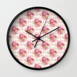 Rose Flower Bouquet on Argyle Pattern Wall Clock