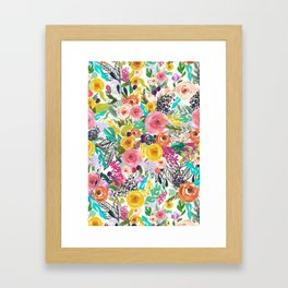 Vibrant Autumn Floral with Turquoise Framed Art Print