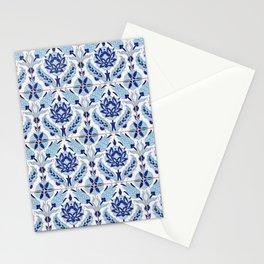 Turkish Tulip Motif Tile Pattern Blue Stationery Cards