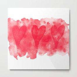 Three Hearts (square) Metal Print