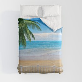 Balcony with a Beach Ocean View Comforters