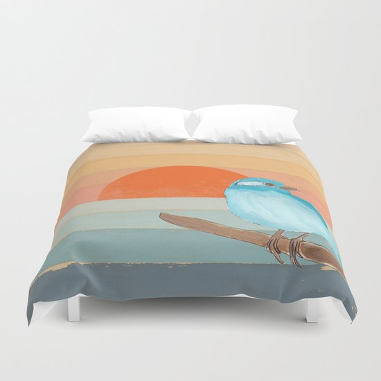 Blue Bird by the Water Duvet Cover