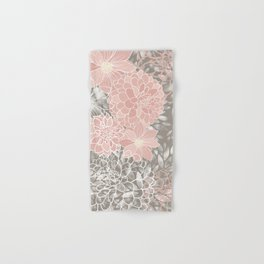 Floral Pattern Dahlias, Blush Pink, Gray, White Hand & Bath Towel