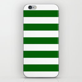 Emerald green - solid color - white stripes pattern iPhone Skin