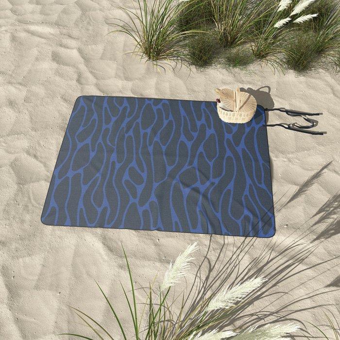 Dark Ocean Waves Picnic Blanket