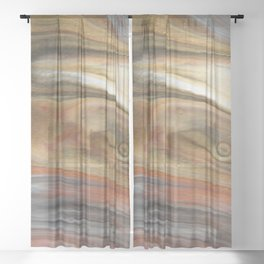 Fluid Nature - Metallic Flows - Abstract Acrylic Art Sheer Curtain