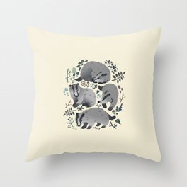 Badgers of the forest Throw Pillow