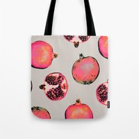fabric Tote Bags featuring Pomegranate Pattern by Georgiana Paraschiv