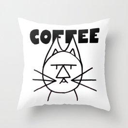 FelTipCat - Coffee Cat Throw Pillow