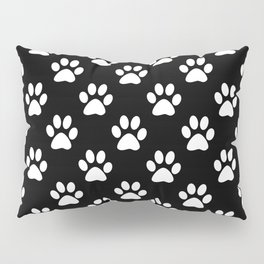 White paws on black Pillow Sham