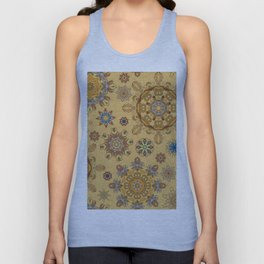 Floral pattern with stylized snowflakes. Christmas winter snow theme pattern. Unisex Tank Top