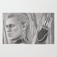 archer Area & Throw Rugs featuring Elf Archer by aurelia-art