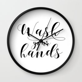 Bathroom Printable, Wash Your Hands, home decor, Bathroom Sign, Bathroom Art, Bathroom Rules Wall Clock