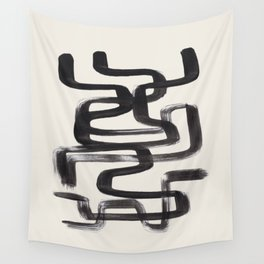 Mid Century Modern Minimalist Abstract Art Brush Strokes Black & White Ink Art Pipe Maze Wall Tapestry