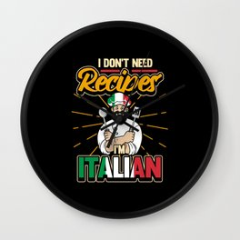 Funny Italian Chef Chef Saying Gift Wall Clock