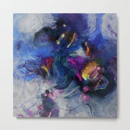 Contemporary Abstract Art in Blue and Yellow Metal Print