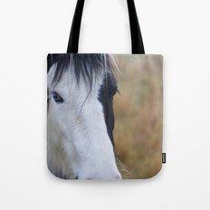 Black and White Horse Portrait Tote Bag