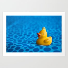Small plastic duck on a blue gift paper Art Print