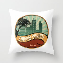 Corpus Christi City Skyline Texas Retro Design Vintage 80s Throw Pillow