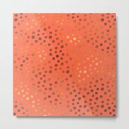 Living Coral Copper Gold Polka Dots Metal Print