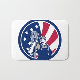 American Industrial Cleaner USA Flag Icon Bath Mat