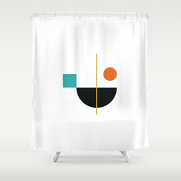 DEK 02// Art Deco & Mid Century Minimalist Illustration Shower Curtain