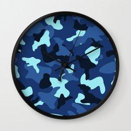 Blue marine army camo camouflage pattern Wall Clock