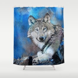 Blue Wolf Wildlife Mixed Media Art Shower Curtain