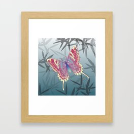 Unique Butterfly Bamboo leaves Pattern Framed Art Print