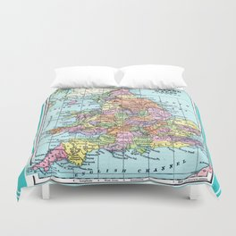 Vintage Map  of England and Wales Duvet Cover