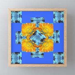 AQUA GEMS & GOLDEN FLOWER PATTERNS ON BLUE ART Framed Mini Art Print