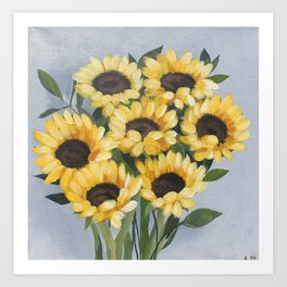 Impressionist Sunflowers, acrylic painting Art Print