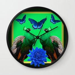 BLUE BUTTERFLIES & GREEN PEACOCKS FLORAL Wall Clock
